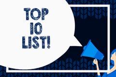 Affärsidé för lista för ordhandstiltext topp 10 för högst rangordnade demonstratingsställen eller objekt i grupp eller kategori royaltyfri illustrationer