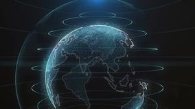 Affärsidé för teknologi för animering för planetjord roterande framtida Digital skinande jordklot av jord Rotation av glansigt royaltyfri illustrationer