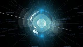 Affärsidé för teknologi för animering för planetjord roterande framtida vektor illustrationer