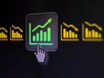 Affärsidé: Graf på skärmen för digital dator Arkivfoton