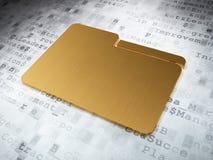 Affärsidé: Guld- mapp på digital bakgrund Royaltyfri Foto