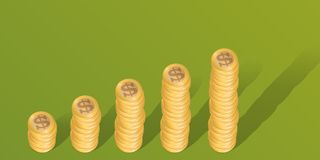 Affärsidé i dollar, med buntar av mynt som visar en förhöjning i vinster vektor illustrationer