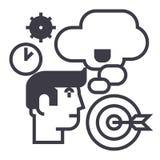 Affärsidé, kläckning av ideer, målmål, tid, tänkande manvektorlinje symbol, tecken, illustration på bakgrund som är redigerbar stock illustrationer