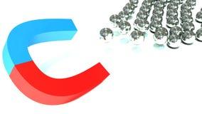 Affärsidé - magneten tilldrar sfärer Arkivbilder