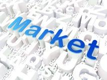 Affärsidé: Marknad på alfabetbakgrund Royaltyfri Foto