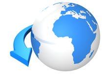 Affärsidé med den blåa jordklotspheren och pilen Royaltyfri Bild