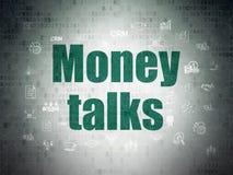 Affärsidé: Pengarsamtal på pappersbakgrund för Digitala data Arkivbild