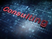 Affärsidé: Rött konsultera på digital bakgrund Arkivbilder