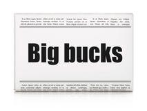 Affärsidé: stora bockar för tidningsrubrik Royaltyfri Foto