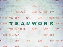 Affärsidé: Teamwork på pappersbakgrund för Digitala data Arkivfoto
