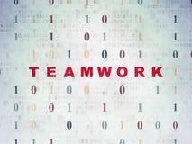Affärsidé: Teamwork på pappersbakgrund för Digitala data Arkivfoton