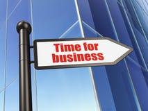 Affärsidé: tecken Tid för affär på byggnadsbakgrund Arkivbild