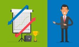 Affärsidéaffärsman Points på Flip Chart stock illustrationer