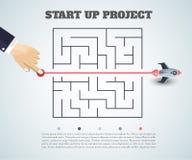 Affärsidébackgroind raket som 3d finner en lösning, probl stock illustrationer