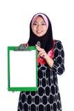 Muslimah med vit undertecknar Arkivfoton