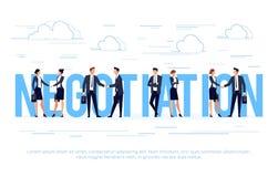 Affärsidéen i en plan stil med affärsmän skakar händer royaltyfri illustrationer