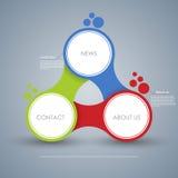 Affärsidéen med 3 alternativ, särar, kliver eller processar Mall för diagram, graf, presentation och diagram Detta är sparar av E Arkivfoto