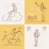 Affärsidéer - uppsättning av linjen designstilillustrationer royaltyfri illustrationer