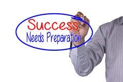 Affärsidéhandskriftmarkören och skriver framgång behöver förberedelsen Arkivfoto