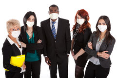 affärsinfluensa maskerar laget Arkivfoton