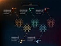 AffärsInfographic begrepp Vektorbeståndsdelar för infographic Mall infographic 5 placerar, royaltyfri illustrationer