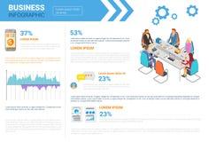 AffärsInfographics uppsättning med kopieringsutrymme för begrepp för förhandling för presentationsmöte royaltyfri illustrationer