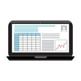 Affärsinfographicsbild på en svart bärbar datorskärm Arkivbilder