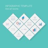 Affärsinfographicsmall med linjen symboler för grafer och pajdiagram Presentation för projektledning Royaltyfri Fotografi
