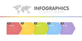 Affärsinfographicsmall Timelinen med 5 pilmoment, fem numrerar alternativ vektor Arkivbild