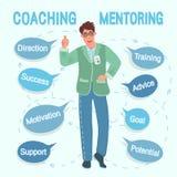 Affärsinstruktören för den unga mannen i ett fritt poserar uppvisning av tummar upp Utbildning mentoring, utbildning presentation vektor illustrationer