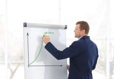 Affärsinstruktören som ger presentation bläddrar på, diagrambrädet royaltyfria foton