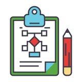 Affärsintrig, marknadsföringsplan, ledning, skrivplattabegrepp stock illustrationer