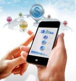 Affärsinvestering på mobil royaltyfri illustrationer