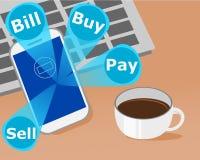Affärsinvestering på mobil på skrivbordet Arkivbild