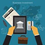 Affärsinvesteringen, den plana vektorillustrationen, apps, baner, skissar Royaltyfri Fotografi