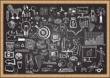 Affärsklotter på den svart tavlan stock illustrationer