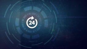 Affärsknapp 24 timmar projektion för hud för hologram för hand för man för affär för symbol för serviceonline-nätverksrengöringsd stock illustrationer