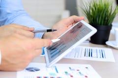 Affärskollegor som arbetar och analyserar finansiella diagram/grafer på en digital minnestavla Royaltyfri Foto