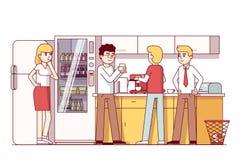 Affärskollegor som i regeringsställning äter kök vektor illustrationer