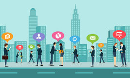 Affärskommunikation för socialt arbete royaltyfri illustrationer