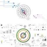 Affärskompassuppsättning med diagram Royaltyfria Bilder