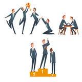 Affärskonkurrens, affärsmän som konkurrerar bland dem, ledarskap- och teamworkvektorillustration stock illustrationer