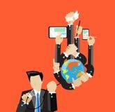 Affärskontakt över hela världen och telefon och dator för handhandlagminnestavla Royaltyfri Fotografi