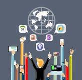 Affärskontakt över hela världen vid handhandlagminnestavlan och pengar Arkivbilder