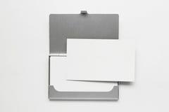 affärskort för 3 ask Arkivfoto