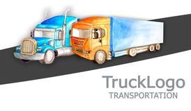 Affärskort för sändningsföretag med två olika lastbilar i stil, färg på en vit bakgrund stock illustrationer