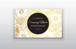 Affärskort - guld- blom- ram Stilfull guld- högvärdig lyxig design för mall för affärskort fotografering för bildbyråer