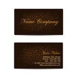 Affärskort med brun läderbakgrund Royaltyfria Bilder