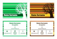Affärskort med trädet i naturliga färger Royaltyfri Fotografi