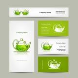 Affärskortdesignen, den gröna treaen skissar Arkivfoto